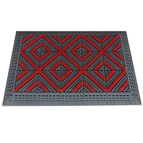 Ingangsmatten van rubberdikte, duurzame rubberen deurmat voor de holle ingang deurmat voor binnen en buiten, antislip, robuust grijperoppervlak gemakkelijk te reinigen, grijze deurmat voor de