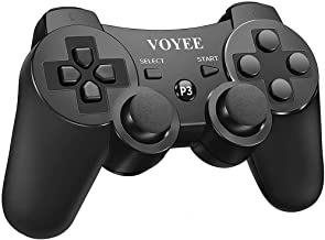 VOYEE Controllre Replacement for PS3 Controller, Wireless Controller Gamepad with Upgraded Joystick/Double Shock/Rechargeable Battery Compatible with Playstation 3 (Black)