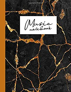 Music notebook: wide staff manuscript paper | 8.5x11 | 120 pages | 8 staves per page | easy to write on | pitch black marble stone cover with shimmery ... perfect for students, musicians and composers