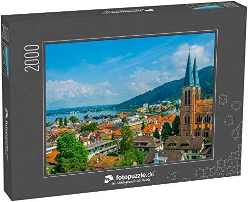 Puzzle 2000 Teile Luftbild von Bregenz dominiert von der Kirche des heiligen Herzens - Klassische Puzzle mit edler Motiv-Schachtel, Fotopuzzle-Kollektion 'Österreich'