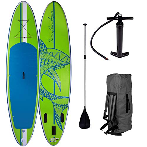 SUP Board Stand up Paddle Paddling Surfboard Shark Grün 320x76x15cm aufblasbar Alu-Paddel Hochdruck-Pumpe Transportrucksack 130KG Tragkraft