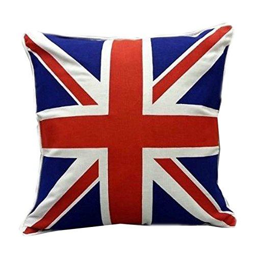MSB World Union Jack/British Flag Design 100% Cotton Cushion & Cover Filled Sofa Cases Couch Pillow 18'x18' (Red and Blue)