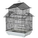 Pawhut Gabbia per Uccelli in Metallo e Plastica con Maniglia di Trasporto e Vassoio Estraibile,...