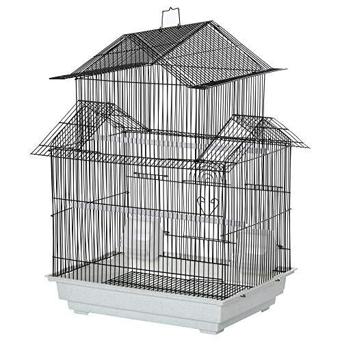 Pawhut Gabbia per Uccelli in Metallo e Plastica con Maniglia di Trasporto e Vassoio Estraibile, 51x40x67cm