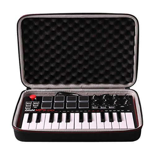 LTGEM Travel Hard Carrying Case for Akai Professional MPK Mini MKII & MPK Mini Play | 25-Key Ultra-Portable USB MIDI Drum Pad & Keyboard Controller