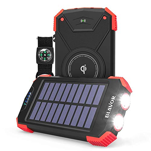 Solar Power Bank, Qi Portable Charger 10,000mAh External Battery Pack Type C Input Port Dual Flashlight, Compass (IPX4...