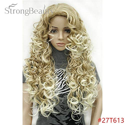 JPDP Strong Beauty Blonde Light Gold Brown Blonde Long Curly Synthetic Full Wigs Perruques pour femmes Beaucoup de couleurs pour choisir 26inches Platinum Blonde