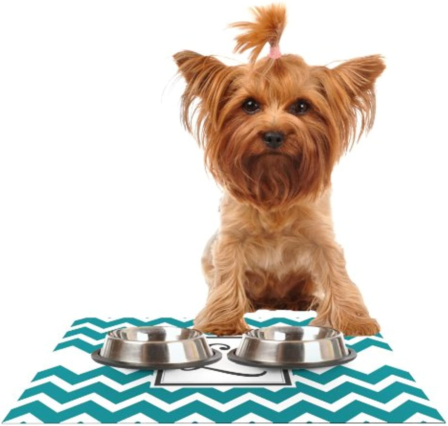 KESS InHouse KESS Original Monogram Chevron Teal Letter L  Feeding Mat for Pet Bowl, 24 by 15Inch