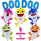 OMG Party Factory - Huge 25' Baby Cute Shark Balloons + 16' 'DOO DOO' Letters - Birthday Party Decorations & Supplies Helium Mylar Foil Balloons - All Family Members Included Doo Doo (5pcs + Letters) Globos Para Fiestas