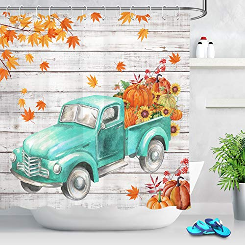 LB Autumn Fall Shower Curtain Set,Faded Maple Leaves with Farm Truck Pulling Sunflowers Plump Fruit Harvest Pumpkin Curtains for Bathroom 72x72 Inch Polyester Fabric with 12 Hooks