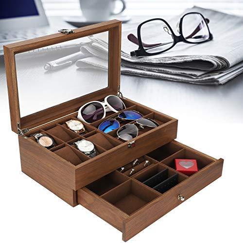 Organizador de gafas, caja de almacenamiento de relojes, caja de exhibición de gafas retro de doble capa, organizador de joyas de embalaje con tapa de vidrio transparente