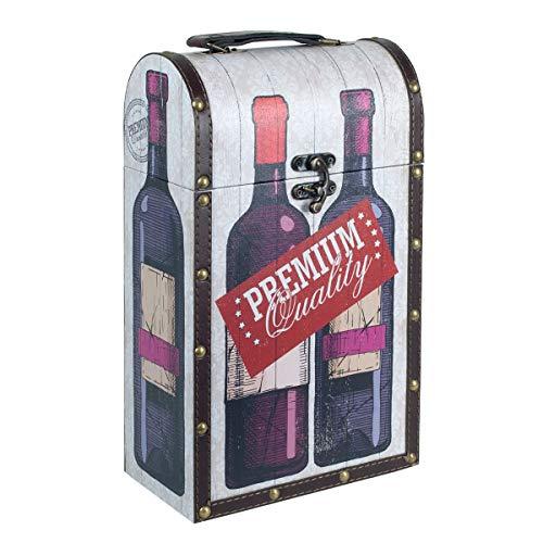 Caja Decorativa para Botellas de Vino de Madera Premium. Botelleros. Cajas Multiusos. Menaje de Cocina. Regalos Originales. 21 x 11,50 x 36 cm.