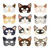 Máscaras de Fiesta de Gato, Máscaras de Fiesta de Gatito de 12 Piezas para Niños, Máscaras de Disfraces para Niños, Máscaras de Fiesta de Gatito Suministros, Fiesta de Cumpleaños, Halloween