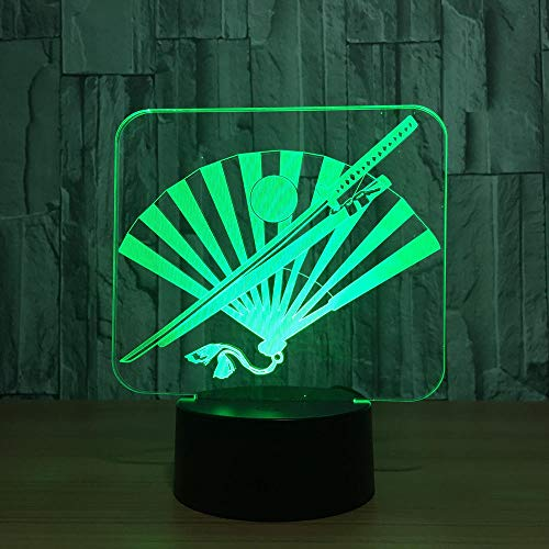 Japan Knife and Fan 3D Night Light,7 Color Led Night Lamps for Kids Touch Led USB Table Lamp Baby Sleeping Indoor Lighting Best Gifts