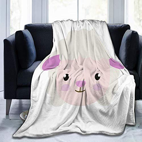 AIMILUX Manta de Franela Suave,Bebé Lindo Ovejita Animal Personaje Dibujo Adorable Dibujos Animados Clip Alegre,Cama de Camping para sofá 204x153cm