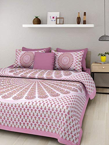 BedZone 100% Cotton Comfort Rajasthani Jaipuri Traditional King Size 1 Double Bedsheet...
