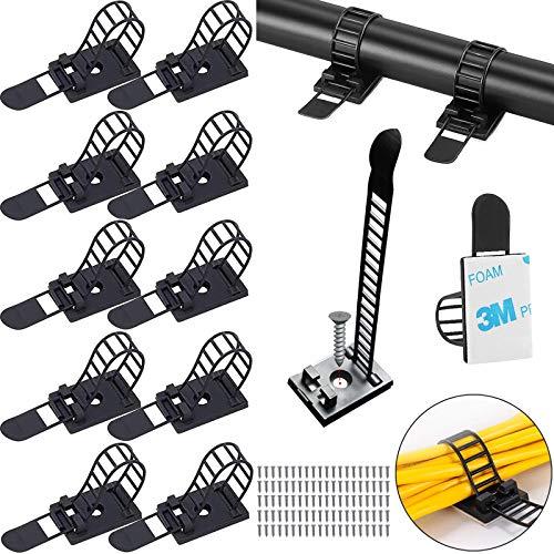 Zocona - Clips de cables, 100 unidades, sujetacables con clip para gestión de cables, autoadhesivos para gestión de cables para casa, TV, oficina y coche (color negro)