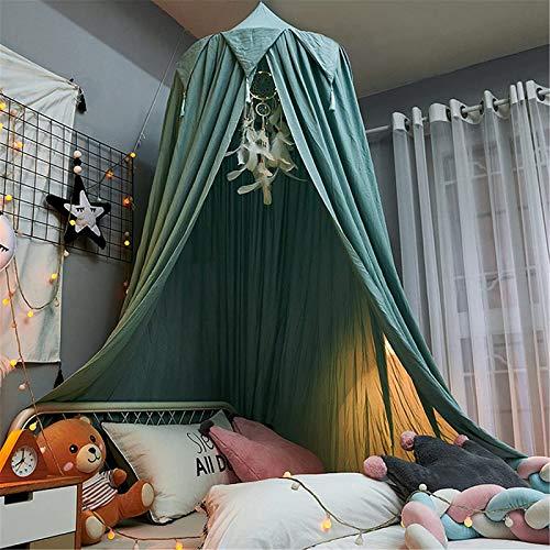 QAZW Cama con Dosel para Niños Protección contra Insectos Mosquitera con Borla, Decoración De Cortinas De Dosel De Princesa para Dormitorio, Cuarto De Los Niños,Green