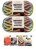 Bernat Maker Home Dec Corded Yarn Bundle 2 Skeins with 4 Patterns 8.8 Ounce Each Skein (Fiesta Varg)