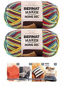Bernat Maker Home Dec Corded Yarn Bundle 2 Skeins with 4 Patterns 8.8 Ounce Each Skein  Fiesta Varg