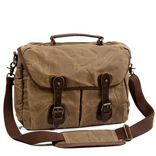 ZRSA Camera Bag, Waterproof Retro Camera Bag Canvas Leather Shoulder Bag Waterproof Shoulder Hiking Backpack Cool Sports Backpack (Brown)