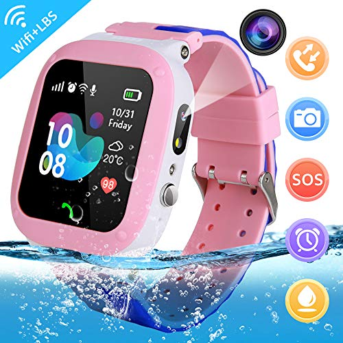 YENISEY Kids Waterproof Smart Watch,Children Phone IP67 Waterproof Smartwatch,Upgrade Touchscreen Smartwatchs,LBS Tracker SOS Anti-Lost Remote Camera Monitoring,Puzzle Game Watch for Girl Boy