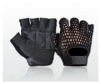 Kango MESH Weight Lifting Gel Padded Leather Gloves Training Cycling Gym Black  Large