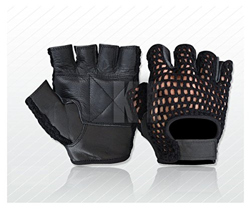 MESH WEIGHT LIFTING GEL PADDED LEATHER GLOVES TRAINING CYCLING GYM BLACK (LARGE)