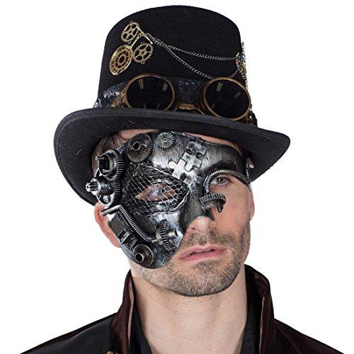 Amakando Retro Augenmaske Dieselpunk Halbmaske Cyberpunk Roboter Maske Clockworker Gesichtsmaske Kostüm Accessoire Steampunk Maske