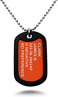 Personalized Custom Message Aluminum Dog Tag Pendant Medical Alert Necklace 24 Inches Stainless Steel Chain Necklace