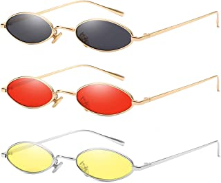 Vintage Slender Oval Sunglasses Small Metal Frame Candy Colors