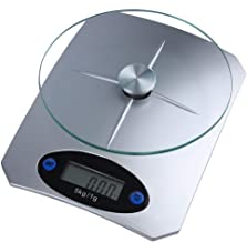 Digital Electronic Kitchen Scale Food Liquids Flour Scale Glass Top from 1g to 5kg Silver