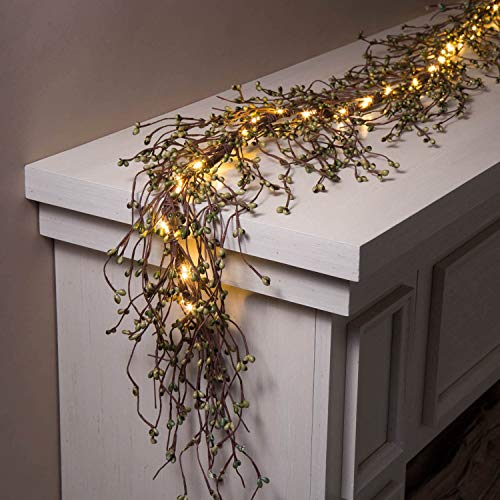 Pip Berry Garland with Lights - 6 Ft Lighted Grapevine with Emerald Green Berries, 100 Bright White LED, All Season Mantle Decor, Battery Operated, Timer Included