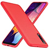 Capa TesRank Samsung Galaxy A50, capa protetora macia em silicone TPU queda, anti-derrapante, anti-risco para Samsung Galaxy A50-Red