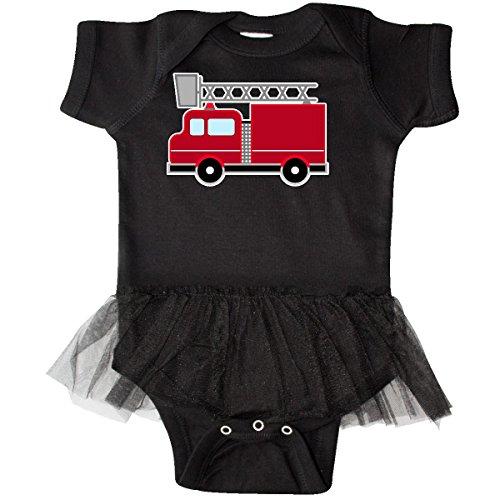 inktastic Red Firefighter Fire Truck Infant Tutu Bodysuit 6 Months Black