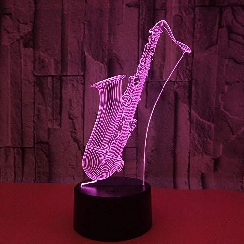 HmDco Saxofoon 3D-illusie lamp, 7 verschillende kleuren, led-nachtlampje voor baby's, slaapkamer, decoratie, kerstcadeau Berühren Sie + Fernbedienung