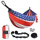 Gold Armour Camping Hammock - Extra Large Double Parachute Hammock (2 Tree Straps 16 Loops/10 ft Included) USA Brand Lightweight Portable Mens Womens Kids, Camping Accessories Gear (Flag)
