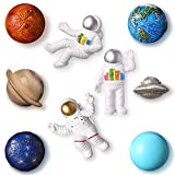 9 Pieces Resin Astronaut Fridge Magnet Space Series Astronaut 3D Creative Fridge Magnets Creative Planetary Fridge Magnets Universe Style Refrigerator Magnet for Cabinet Refrigerator (Delicate Style)