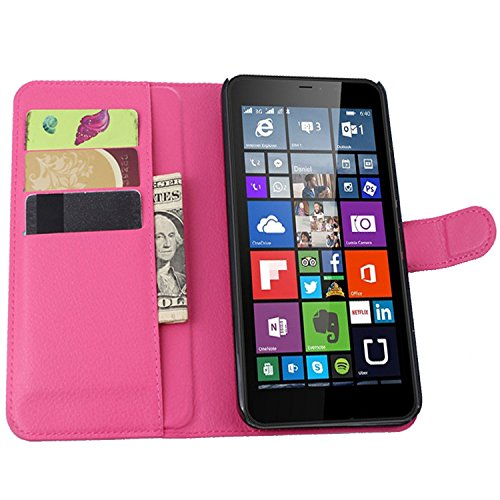 Ycloud Tasche für Nokia Microsoft Lumia 640 XL Dual-SIM Hülle, PU Ledertasche Flip Cover Wallet Case Handyhülle mit Stand Function Credit Card Slots Bookstyle Purse Design Rose Red