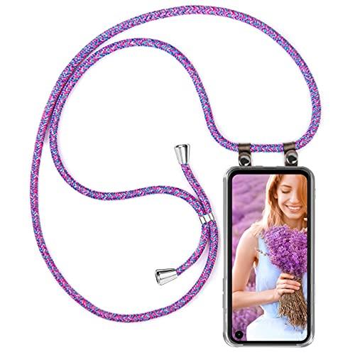 moex Handykette kompatibel mit Motorola One Action Hülle mit Band Längenverstellbar, Handyhülle zum Umhängen, Silikon Hülle Transparent mit Kordel Schnur abnehmbar in Lila Pink