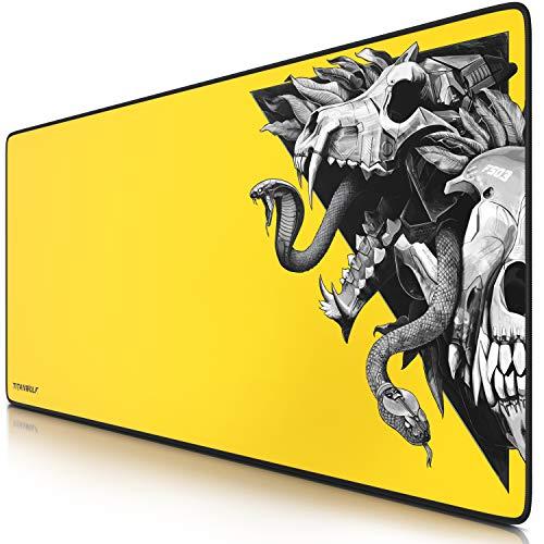 Titanwolf – Alfombrilla gaming para ratón 900 x 400 – mouse pad - precisión y velocidad - parte inferior de goma para una sujeción estable - antideslizante, resistente al agua – Wolf Skull