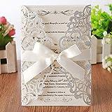 Hosmsua - 50 tarjetas de invitación de boda cortadas con láser con lazo y sobres para despedida de soltera, compromiso, cumpleaños, graduación, 50 unidades (purpurina plateada)