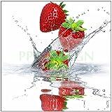 PPA DESIGN SLV1047 Sticker Cuisine Lave Vaisselle Fraises Plongées dans l'eau 60x60cm (Fond Blanc)