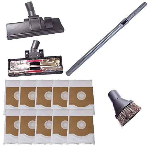 Staubsaugerrohr 35mm, 265mm Staubsaugerdüse & Saugpinsel inkl. 10 Staubsaugerbeutel kompatibel für Tevion AS 35
