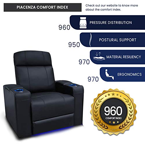 Valencia Piacenza Home Theater Seating | Premium Top Grain Nappa 9000 Leather, Power Recliner, LED Lighting (Row of 4 Loveseat Center, Black)