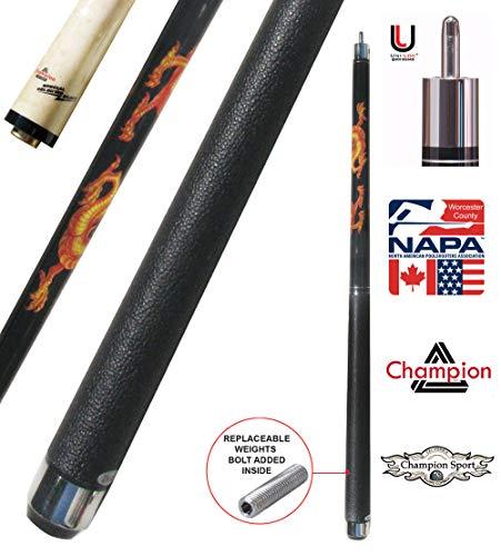 Champion Dragon Pool Cue Stick with Predator Uniloc Joint, Low Deflection Shaft (18, 12.5)