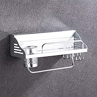40cm 1 Cup 6 Hooks Multi-function Kitchen Punching Wall-Mounted Plastic Edge Condiment Holder Storage Rack Worry-free Quality