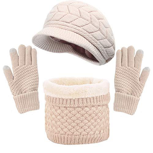 Yutdeng Sombrero de Boina de Punto de Invierno Bufanda de Aro Caliente Calentador de Cuello Guantes para Pantalla Táctil Adecuados para Favores de Mujeres(Beige,Talla única)
