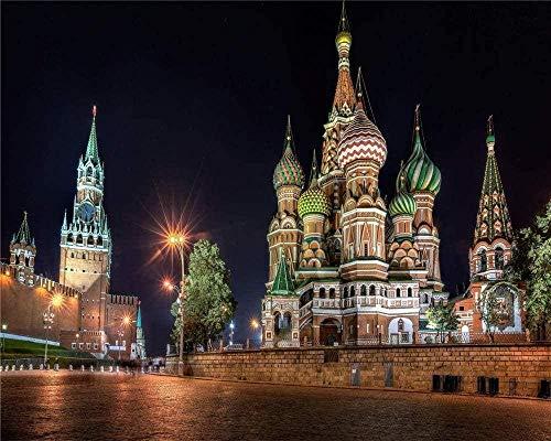 Puzzle de 1000 Piezas de Rompecabezas de Madera Juego Educativo de Madera para niños y Adultos en el Rompecabezas de la Plaza Roja del Kremlin de Moscú