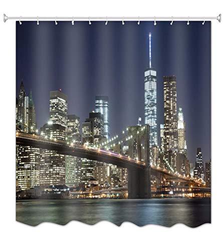A.Monamour Cortina de Ducha Antimoho Impermeable Lavable Tela Puente De Brooklyn del Horizonte De La Ciudad De Nueva York En La Noche Poliéster Cortinas de Baño con Ganchos 150x180 cm